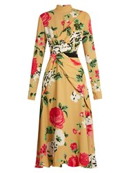 Msgm High Neck Floral Print Crepe Dress Yellow Multi