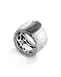 John Hardy Palu Silver Lava Wide Overlap Band Ring With Black Sapphires Silver Black