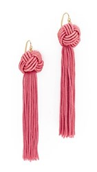 Vanessa Mooney The Astrid Knotted Tassel Earrings Pink