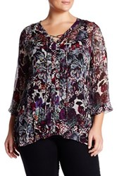 Lucky Brand Semi Sheer Lace Up Blouse Plus Size Multi
