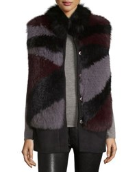 Belle Fare Wool Fur Trim Vest Gray Purple Gray Purple