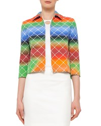 Akris Punto 3 4 Sleeve Cropped Baseball Net Print Jacket Multicolor Multi Color