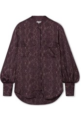 Equipment Helaine Snake Print Satin Blouse Merlot