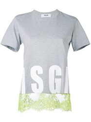 Msgm Lace Trim T Shirt Women Cotton M Grey