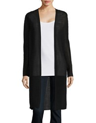 Lafayette 148 New York Sheer Stripe Oversized Cardigan Ink