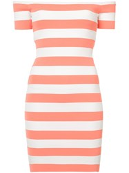 Torn By Ronny Kobo Striped Off The Shoulder Dress Pink And Purple