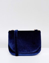 Monki Velvet Saddle Cross Body Bag Navy