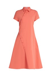 Tomas Maier Asymmetric Cotton Blend Poplin Shirtdress Pink