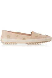 Tod's Embellished Leather Espadrilles