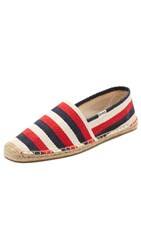 Soludos Henley Stripe Espadrilles Red Navy Natural