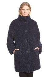 Petite Women's Gallery 'Teddy' Faux Fur Coat Navy