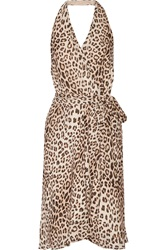 Haute Hippie Love Me Leopard Print Silk Chiffon Dress
