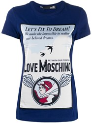 Love Moschino Printed T Shirt Blue