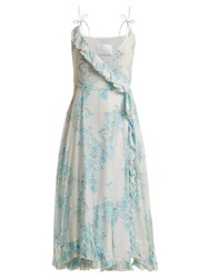 Athena Procopiou Walking On A Dream Floral Print Silk Wrap Dress Blue White