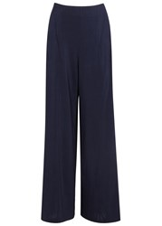 O'2nd Navy Crepe Wide Leg Trousers