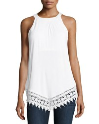 Neiman Marcus Lace Trimmed Sleeveless Tank White