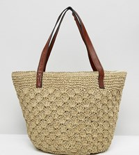 Reclaimed Vintage Inspired Straw Shoulder Bag With Leather Straps Multi