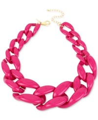 Inc International Concepts Iris X Gold Tone Large Link Collar Necklace Only At Macy's Fuschia