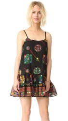 Juliet Dunn Embroidered Cover Up Dress Black Multi