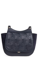 Welden Vagabond Woven Flap Leather Satchel Blue Navy
