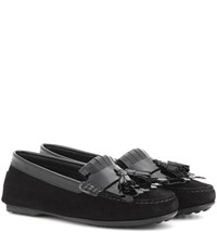 Tod's Frangia Suede And Patent Leather Loafers Black