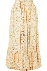 Lisa Marie Fernandez Nicole Embroidered Broderie Anglaise Cotton Maxi Skirt Neutral