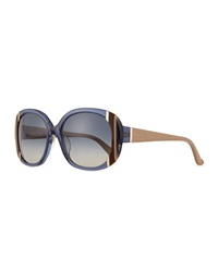 Universal Fit Striped Butterfly Sunglasses Blue Salvatore Ferragamo