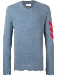 Zadig And Voltaire Kennedy Arrow Intarsia Sweater Blue