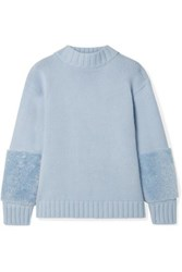 Sally Lapointe Shearling Trimmed Merino Wool And Cashmere Blend Sweater Light Blue