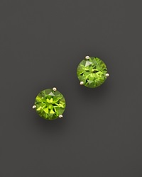 Bloomingdale's 14K Yellow Gold Peridot Round Earrings Green