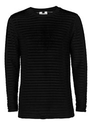 Topman Black Horizontal Sheer Stripe Sweater