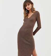 River Island Knitted Dress With V Neck In Bronze Copper