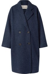 Mara Hoffman Clementine Oversized Double Breasted Wool Coat Navy