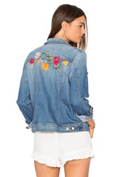 7 For All Mankind Trucker Jacket Rose Garden Embroidered