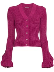 Marco De Vincenzo V Neck Lurex Knitted Cardigan Pink And Purple