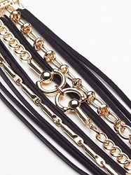 Free People Leather Wrap Chain Link Cuff