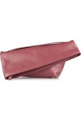 Jil Sander Asymmetric Leather Clutch Red