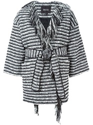Raoul Belted Striped Coat Black