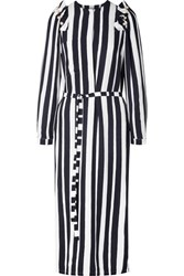Mother Of Pearl Jada Faux Embellished Striped Crepe De Chine Midi Dress Midnight Blue