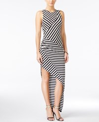Material Girl Juniors' Asymmetrical Striped Maxi Dress Black Combo