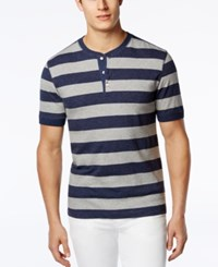 Club Room Men's Rugby Striped Henley Only At Macy's Navy Blue