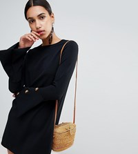 Boohoo Button Detail Flared Sleeve Swing Dress In Black Black
