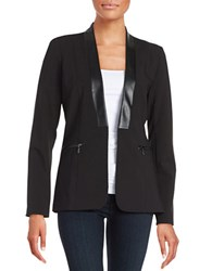 Calvin Klein Faux Leather Trimmed Blazer Black