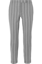 Thom Browne Cropped Striped Wool And Cotton Blend Slim Leg Pants Gray