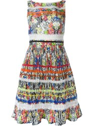 Si Jay Floral Print Pleated Dress Multicolour