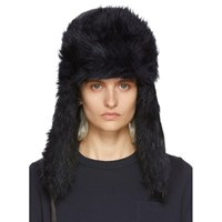 Sacai Black And Navy Faux Fur Hat
