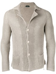 Zanone Fisherman Knit Cardigan Nude Neutrals