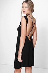 Boohoo Cross Back Sleeveless T Shirt Dress Black