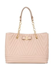 Salvatore Ferragamo Bow Detail Quilted Tote Nude Neutrals
