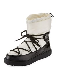 Moncler Ynnaf Lace Up Drawstring Snow Boot Black White